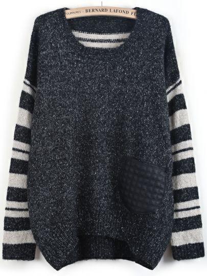 Black Contrast Striped Long Sleeve Dipped Hem Sweater