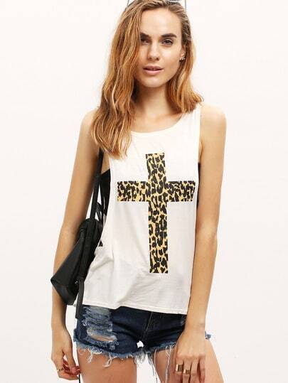 White Leopard Cross Print Vest with Camisole