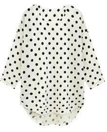 White Three Quarter Length Sleeve Polka Dot Blouse