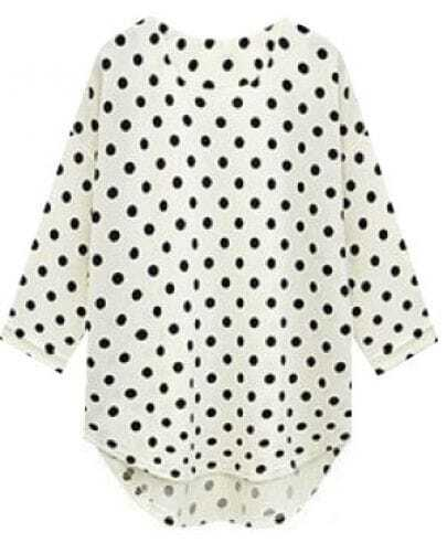 White Three Quarter Length Sleeve Polka Dot Blouse