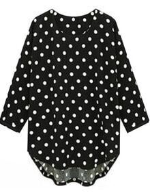 Black Three Quarter Length Sleeve Polka Dot Blouse