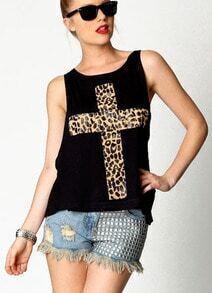 Black Leopard Cross Print Vest with Camisole