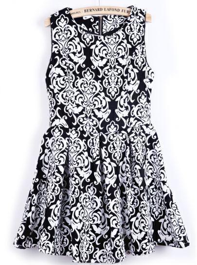 Black and White Sleeveless Tribal Florals Print Dress