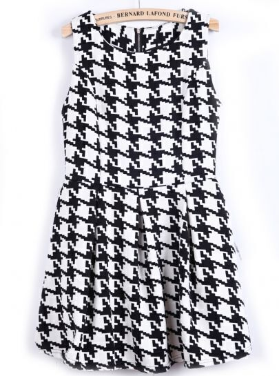 Black and White Sleeveless Houndstooth Print Dress