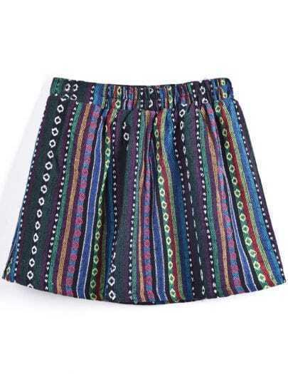Navy Multicolor Stripes Tribal Print Short Skirt