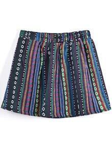 Navy Multicolor Stripes Tribal Print Short Skirt
