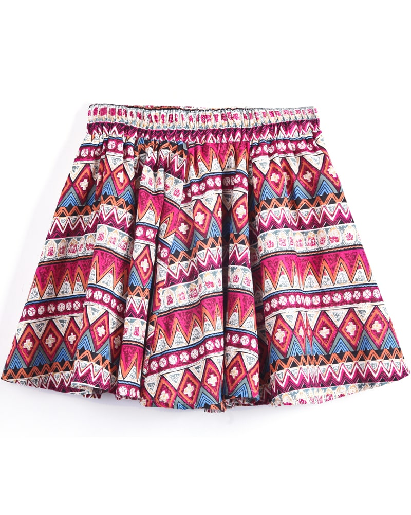 Rose Red Geometric Tribal Print Short Skirt -SheIn(Sheinside)