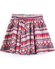 Rose Red Geometric Tribal Print Short Skirt