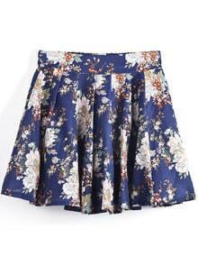 Dark Blue Flowers Print Short Skirt