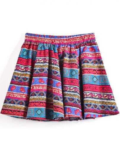 Rose Red and Blue Geometric Tribal Short Skirt