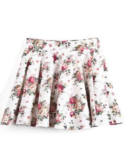 Apricot Rose Flowers Print Pleated Skirt