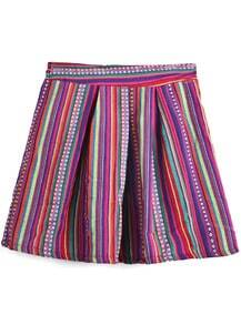Purple Tribal Vertical Stripes A-line Skirt
