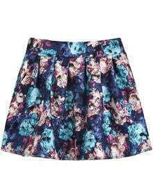 Blue and Apricot Florals Print Pleated Skirt