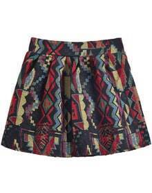 Black and Red Geometric Print Short Skirt