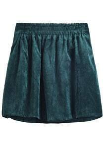 Dark Green High Waist Corduroy Pleated Skirt
