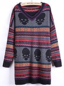 Grey V-neck Skulls and Striped Pattern Longline Sweater