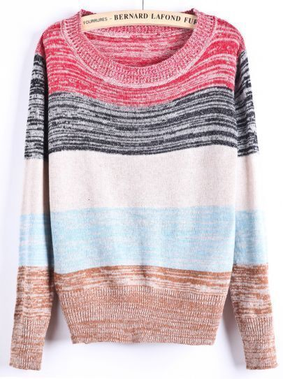 Red Grey Contrast Apricot Khaki Striped Panel Sweater