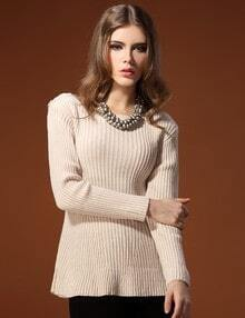 Beige Round Neck Long Sleeve Flare Hem Sweater