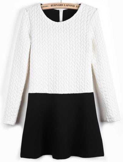 White and Black Long Sleeve Embossmeant Dress