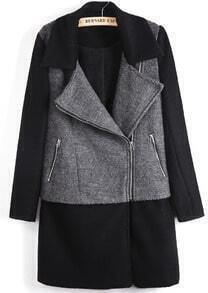 Black Contrast Grey Panel Lapel Wool Blend Coat
