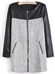 Grey Contrast Black PU Leather Round Neck Wool Blend Coat