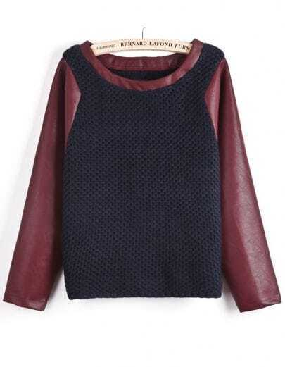 Navy Contrast Wine Red PU Leather Sleeve Sweater