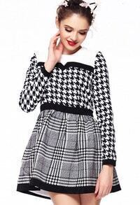 Black White Long Sleeve Houndstooth Contrast Plaid Dress