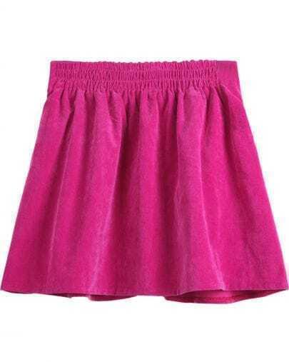 Rose Red High Waist Corduroy Pleated Skirt