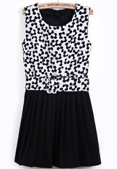 White Black Sleeveless Floral Pleated Dress