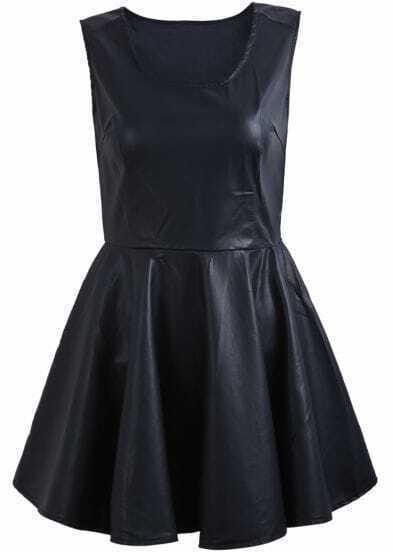 Black Scoop Neck Sleeveless Pleated PU Leather Dress