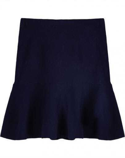 Royal Blue High Waist Bodycon Ruffle Skirt