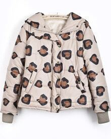Apricot Hooded Long Sleeve Leopard Crop Parka