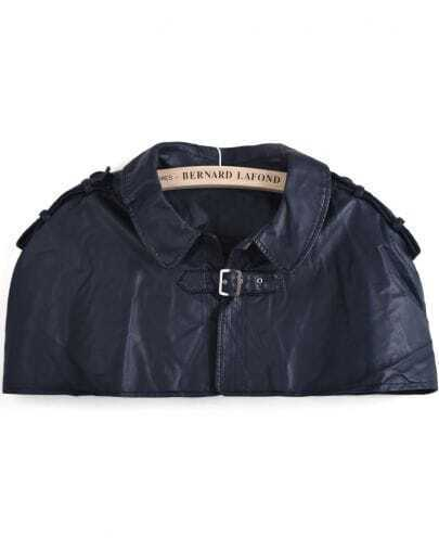 Blue Lapel Epaulet PU Leather Cape
