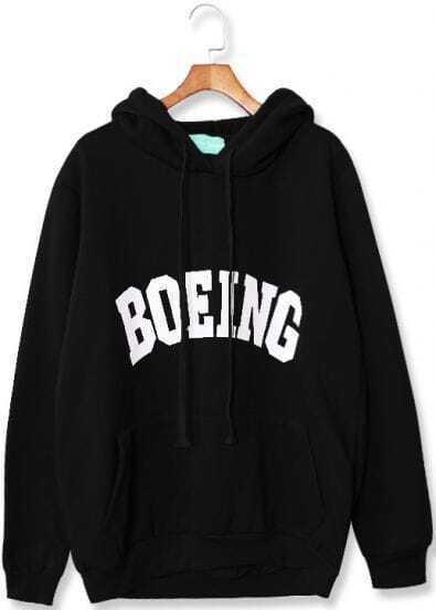 Black Hooded Long Sleeve BOEING Print Sweatshirt