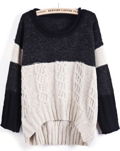 Apricot Contrast Black Long Sleeve Cable Knit Sweater