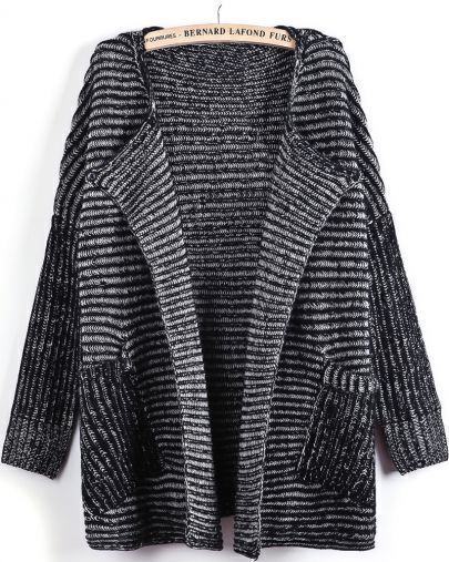 Black Long Sleeve Striped Pockets Cardigan