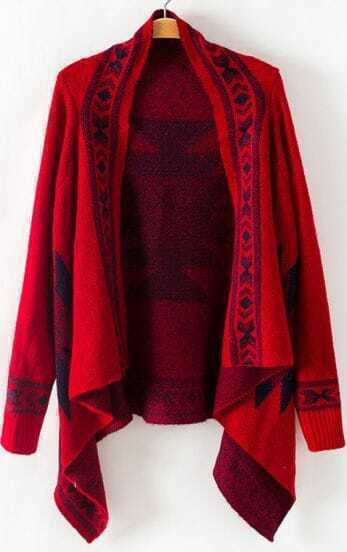 Red Long Sleeve Geometric Asymmetrical Cardigan