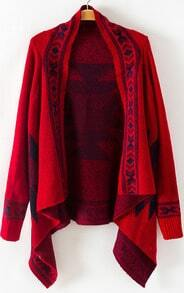 Red Long Sleeve Geometric Asymmetrical Cardigan