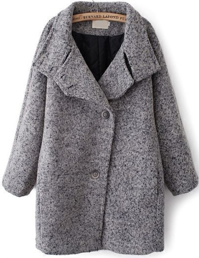 Grey Lapel Batwing Long Sleeve Loose Coat