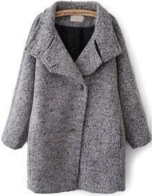 Grey Lapel Batwing Long Sleeve Loose Coat