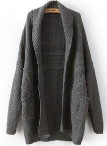 Dark Grey Long Sleeve Cable Knit Pockets Cardigan