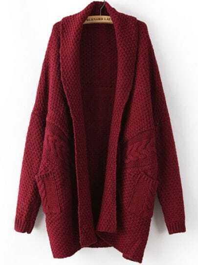 Wine Red Long Sleeve Cable Knit Pockets Cardigan