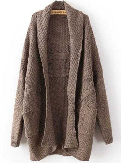 Coffee Long Sleeve Cable Knit Pockets Cardigan