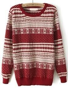 Red Long Sleeve Snowflake Polka Dot Sweater