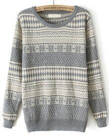 Grey Long Sleeve Snowflake Polka Dot Sweater
