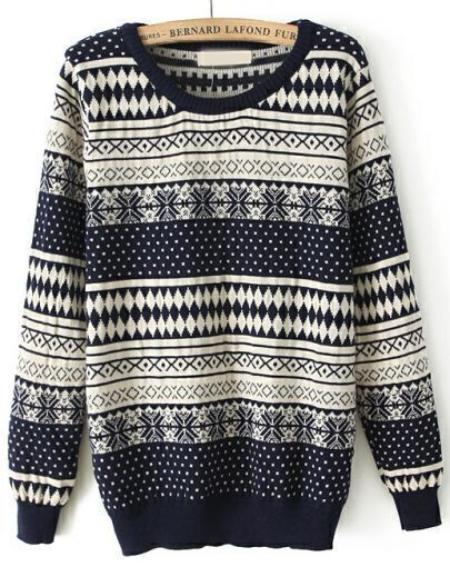 Navy Long Sleeve Snowflake Polka Dot Sweater