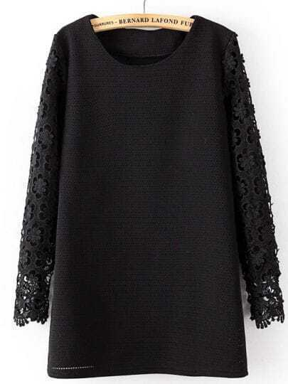 Black Contrast Hollow Lace Long Sleeve Blouse