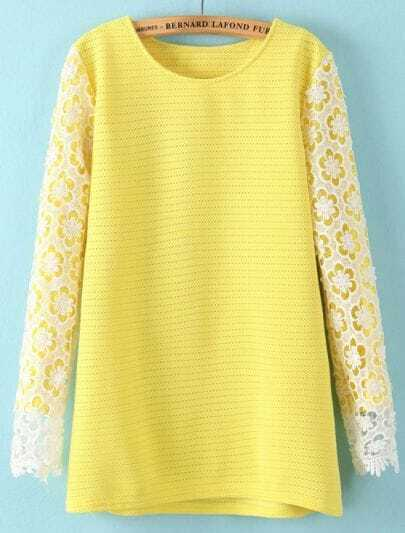 Yellow Contrast Hollow Lace Long Sleeve Blouse