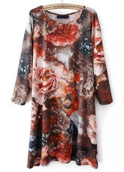 Red Long Sleeve Floral Loose Dress