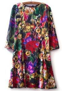 Multi Long Sleeve Floral Loose Dress